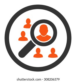 Marketing vector icon. This rounded flat symbol is drawn with orange and gray colors on a white background.
