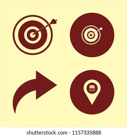 marketing vector icons set. with right arrow, store location and target in set