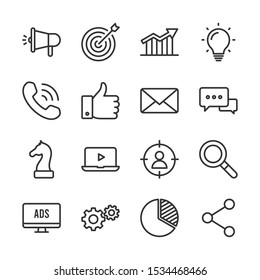 Marketing vector line icons set - Shutterstock ID 1534468466