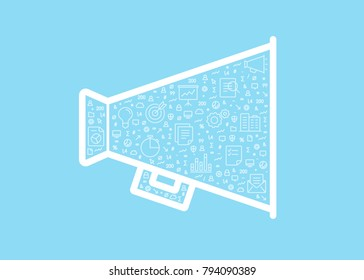 Marketing vector symbol filled with small icons isolated on light blue background.