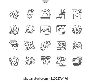 Marketing Well-crafted Pixel Perfect Vector Thin Line Icons 30 2x Grid for Web Graphics and Apps. Simple Minimal Pictogram