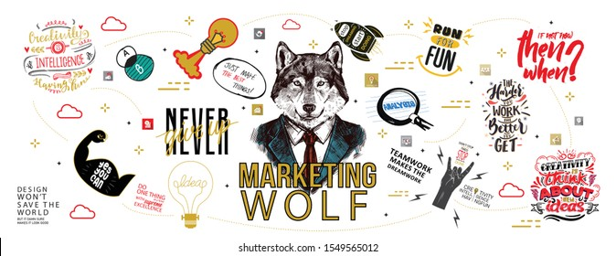 Marketing wolf Vector creative illustration of idea word lettering typography with line icons and tag cloud on white background. Creative idea concept. Thin line art style design for business idea the