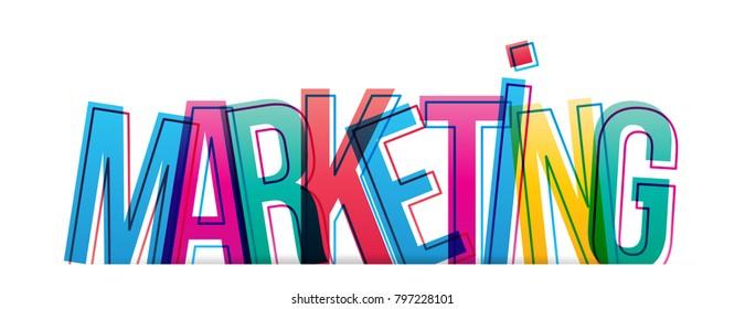 Marketing word creative design Concept. Modern Vector Illustration concept of word marketing