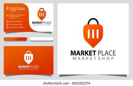 Marketplace colorful logo design vector illustration, business card template