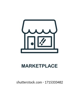 Marketplace icon. Line style simple element from e-commerce icons collection. Pixel perfect simple marketplace icon for web design, apps, software, print usage.