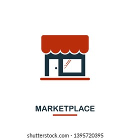 Marketplace icon in two colors. Creative black and red design from e-commerce icons collection. Pixel perfect simple marketplace icon for web design, apps, software, print usage.