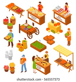 Marketplace isometric set of food counters with farmers selling milk products natural honey homemade cheese fruits and vegetables isolated vector illustration