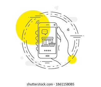 Marketplace line icon. Mobile phone vector button. Shopping store sign. Customer cart symbol. Marketplace line icon. Abstract concept badge. Vector