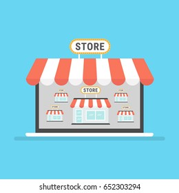 Marketplace online vector illustration, flat style internet multivendor store on laptop computer with multi vendor stores