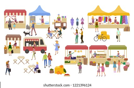 Marketplace, stalls of sellers and shopping people vector. Clothes  and food shops butchery and backery with meat and bread. Cafe and resting customers