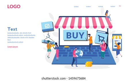 Marketplace Vector illustration for web banner, print, infographics, mobile website. Landing page template.