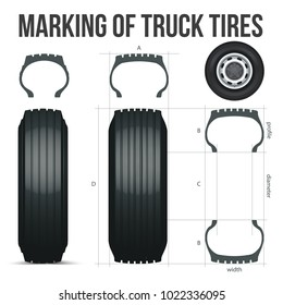 Marking of truck tires. Size Guide. The nomenclature of the tire. Realistic vector.