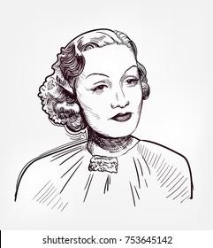 marlene dietrich vector sketch illustration