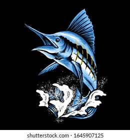 Marlin fish art vector illustration