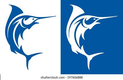 Marlin fish deep sea fishing symbol.