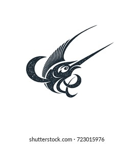 Marlin fish logo and emblem template for your design. Stamp style. Isolated silhouette vector illustration.