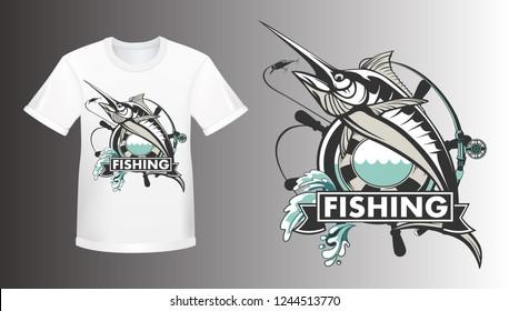 Marlin fish logo shirt mockup.Sword fish fishing emblem for sport club. Angry marlin fishing background theme vector illustration.