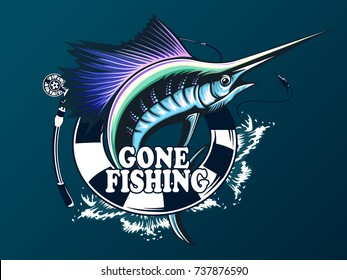 Marlin fish logo. Sword fishing emblem for sport club. Angry fish background theme vector illustration.