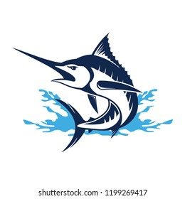 Marlin fish logo.Sword fish fishing emblem for sport club. Angry marlin fishing background theme vector illustration.