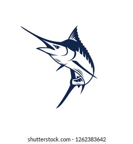 Marlin fish logo.Sword fish fishing emblem for sport club. Angry marlin fishing background theme vector illustration. - Vector