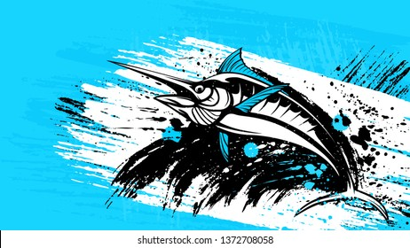 Marlin fish logo.Sword fish fishing emblem for sport club. Angry marlin fishing background theme vector illustration. Water splash. Grunge background. Paint stains.