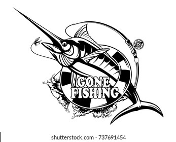 Marlin fish logo.Sword fishing emblem for sport club. Angry fish background theme vector illustration.