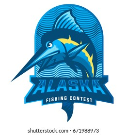 marlin fish mascot logo ,illustration,market logo,illustration for fisherman or fish market