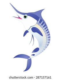 Marlin fish vector. Blue striped marlin sea animal cartoon character. Sea life Ocean animal Swordfish, billfish, sailfish isolated on white Great for illustration, t shirt stamp, animal, wildlife design