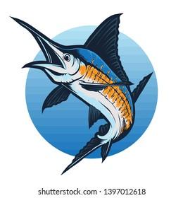 marlin fish vector and logo