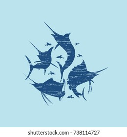 Marlin fish vector silhouette