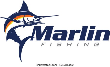 Marlin Logo, Unique & modern Marlin Jumping out of the water, Great for Saltwater Fishing Logo Activity