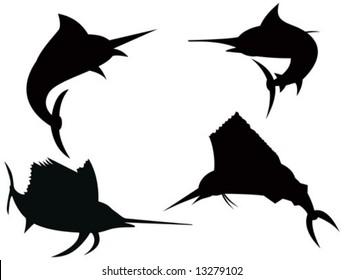 Marlin and Sailfish silhouettes