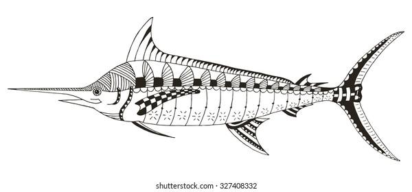 Marlin, swordfish zentangle stylized, vector, illustration, freehand pencil, hand drawn, pattern.