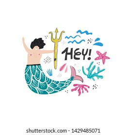 Marman hand drawn vector character. Male mermaid. Underwater magical creature. Boy with tail illustration. Hey lettering. Marine, ocean mythical life cartoon design element. Fairytale isolated clipart