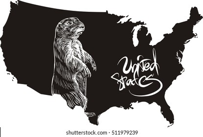 Marmot and U.S. outline map. Black and white vector illustration.