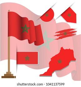 marocco flags popular vector