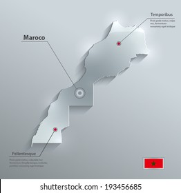 Maroco map flag glass card paper 3D vector
