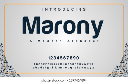 Marony font. Elegant alphabet letters font and number. Classic Copper Lettering Minimal Fashion Designs. Typography fonts regular uppercase and lowercase. vector illustration