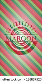 Maroon christmas badge background.