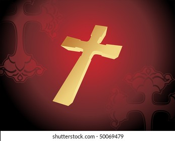 maroon seamless background with isolated golden cross