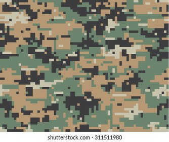 MARPAT camouflage seamless pattern. Digital (pixelated) texture.