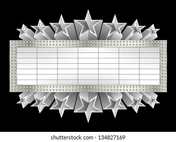Marquee banner with stars, and realistic metal texture, EPS 10, contains transparency