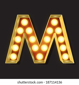 Marquee Light Letter - Vector - M