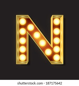 Marquee Light Letter - Vector - N