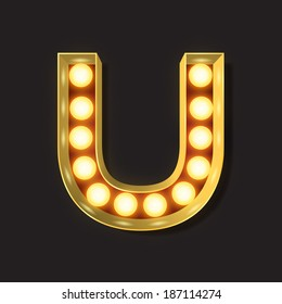 Marquee Light Letter - Vector - U