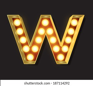 Marquee Light Letter - Vector - W