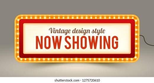 Marquee sign board for announcements. Banner for theater or cinema ads. Marquee sign in vintage style. Neutral background.