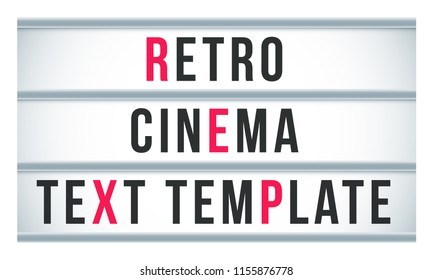 Marquee sign lightbox signage. Vector retro cinema and theater signboard or billboard text template. Vintage frame movie banner, old style motel billboard