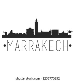 Marrakech City Skyline Silhouette City Design Vector Famous Monuments