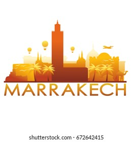 Marrakech Skyline Silhouette Gradient Vector City Design